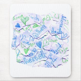 Love Cherish Adore Purple and Green Collage Square Mouse Pad