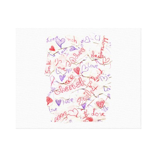 Love Cherish Adore Red and Purple Collage Stretched Canvas Print