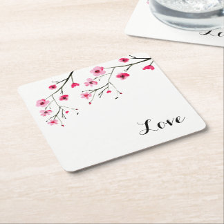 Love, Cherry Blossom, Watercolor painting, Wedding Square Paper Coaster