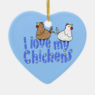 Love Chickens - Heart Ornament