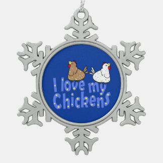 Love Chickens Snowflake Ornament