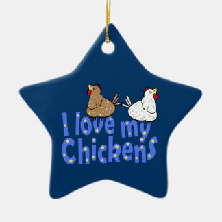 Love Chickens Star Ornament