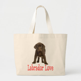 Love Chocolate Brown Labrador Retriever Puppy Dog Large Tote Bag