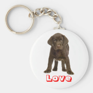 Love Chocolate Labrador Retriever Puppy Keychain