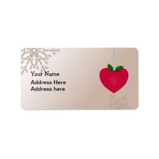 Love Christmas, heart shape with snowflakes Label