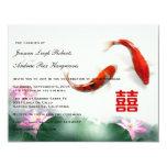 Love Circles | Lotus Koi Double Happiness Wedding Invitations