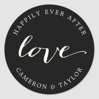 Love Classic Calligraphy Script Wedding Stickers