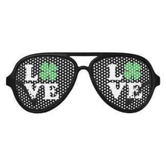 Love Clover Black Aviator Sunglasses