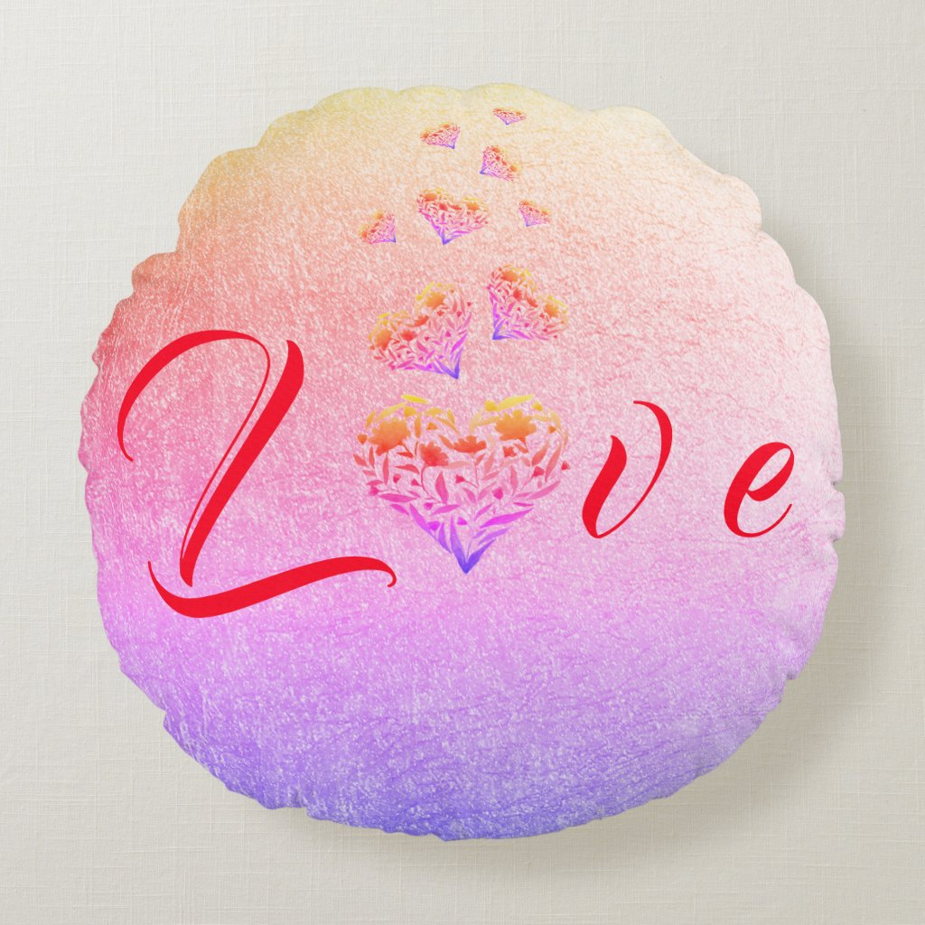 Love ~ Colourful Floral Heart Round Pillow