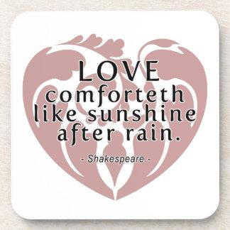 Love Comforteth Like Sunshine - Shakespeare Quote Beverage Coasters