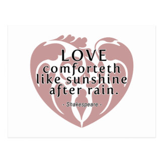 Love Comforteth Like Sunshine - Shakespeare Quote Postcard
