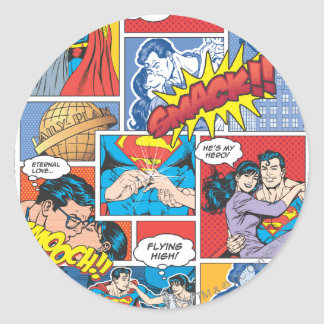 Love Comic Slides - Color Classic Round Sticker