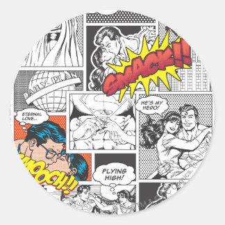 Love Comic Slides Classic Round Sticker