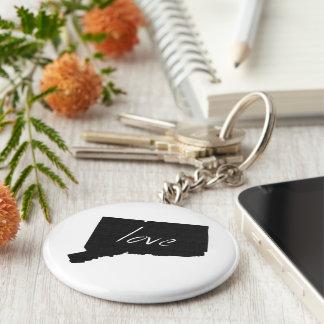 Love Connecticut Basic Round Button Keychain