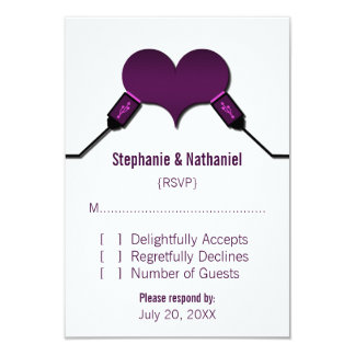Love Connection USB Response Card, Purple Personalized Invitations