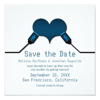 Love Connection USB Save the Date Invite, Blue