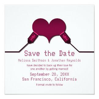 """Love Connection USB Save the Date Invite, Fuchsia 5.25"""" Square Invitation Card"""