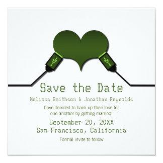 "Love Connection USB Save the Date Invite, Green 5.25"" Square Invitation Card"