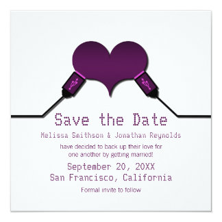 Love Connection USB Save the Date Invite, Purple