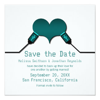 """Love Connection USB Save the Date Invite, Teal 5.25"""" Square Invitation Card"""