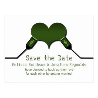 Love Connection USB Save the Date Postcard, Green
