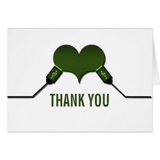 Love Connection USB Thank You Card, Green Note Card