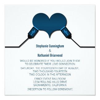 Love Connection USB Wedding Invitation, Blue