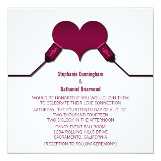 """Love Connection USB Wedding Invitation, Fuchsia 5.25"""" Square Invitation Card"""
