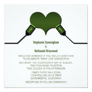 """Love Connection USB Wedding Invitation, Green 5.25"""" Square Invitation Card"""