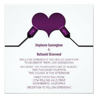 Love Connection USB Wedding Invitation, Purple