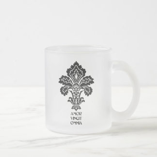 Love Conquers All (black-white) Frosted Glass Mug
