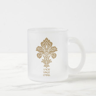 Love Conquers All (brown) Frosted Glass Mug