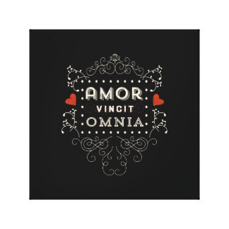 Love Conquers All - Latin Vintage Typography Canvas Print