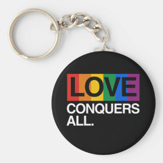 LOVE CONQUERS ALL -.png Basic Round Button Key Ring