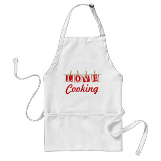 Love Cooking - Red and White Stitched Effect Aprons