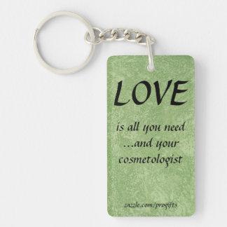Love Cosmetologist Rectangular Acrylic Key Chain