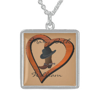 LOVE Country Boot & Hat Personalized Sterling Silv Square Pendant Necklace