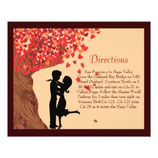 Love Couple Falling Hearts Oak Tree Direction Card 11.5 Cm X 14 Cm Flyer