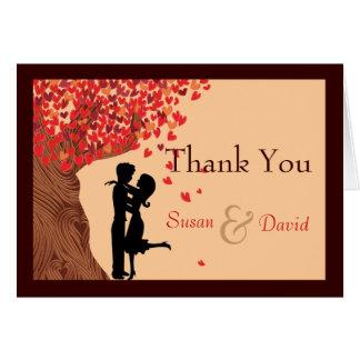 Love Couple Falling Hearts Oak Tree Thank You Note Card