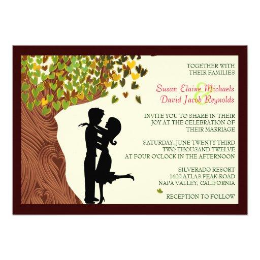 Love Couple Falling Hearts Oak Tree Wedding Invite