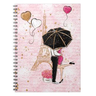 Love Couple / Paris / Glitter / Notebook