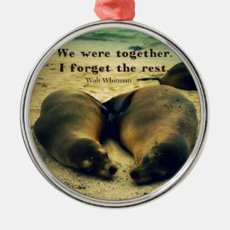 Love couple quote sea lions on the beach christmas ornament