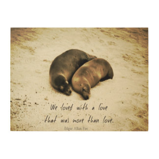 Love couple romantic quote sea lions on the beach wood wall art