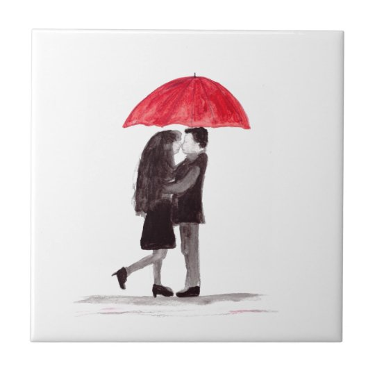 Love couple with red umbrella art small square tile