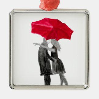 Love couple with red umbrella Silver-Colored square decoration