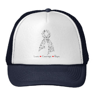 Love Courage Hope Butterfly - Brain Cancer Cap