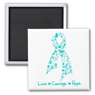 Love Courage Hope Butterfly - Ovarian Cancer Square Magnet