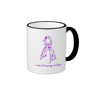 Love Courage Hope Butterfly - Pancreatic Cancer Mugs