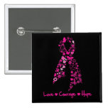 Love Courage Hope Butterfly Ribbon - Breast Cancer 15 Cm Square Badge