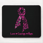 Love Courage Hope Butterfly Ribbon - Breast Cancer Mousemat